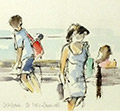 Watercolour painting of people on seafront with seagull