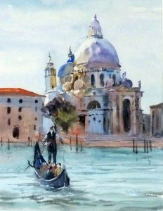 Watercolour of gondolier on canal with white domed cathedral behind