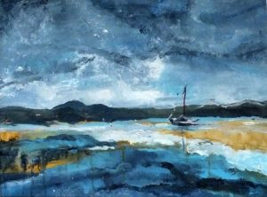 Painting of coastline, sailing boat moored, dark blue tones with dark yellow reflection on water