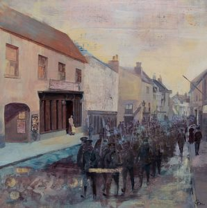 mixed media collage WW1 soldiers marching through Salisbury streets