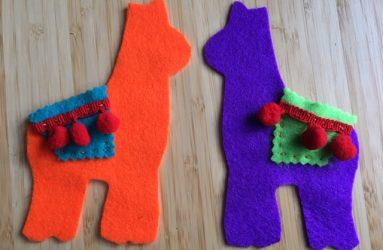saddles sewn on the llama shapes