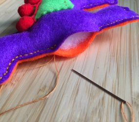 stitching up the final section of llama