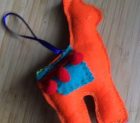 finished llama with ribbon hanging attached