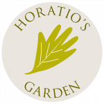 Horatio's garden logo with leaf motif in centre