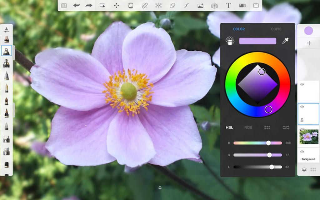 screenshot showing the colour picker tool