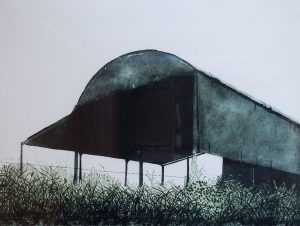 Etching of metal barn with wild flowers and grasses in foreground