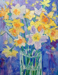 Oil painting of daffodils in a vase, vibrant yellows, blue background, thick textured paint