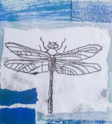 dragonfly outline layered on different coloured paper