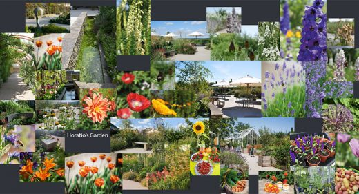 images of plants, spring flowers and sculpture in Horatio's garden