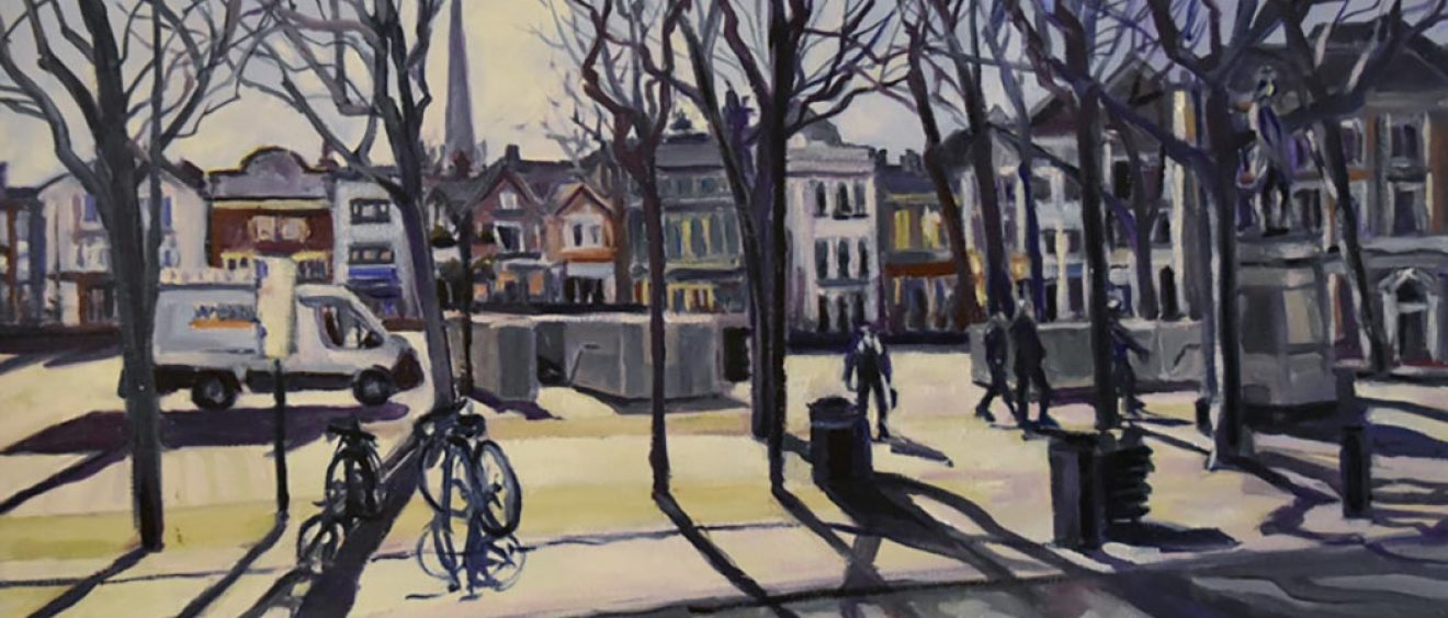 watercolour of market square scene - early morning light filtering through bare tree branches, pedestrians and a parked van