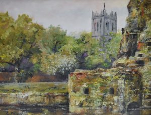 View of priory from river, trees in foreground