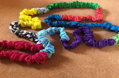 large multicoloured scrunchie elastic band