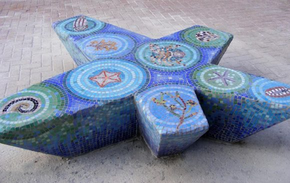 star fished shaped mosaic bench underwater theme