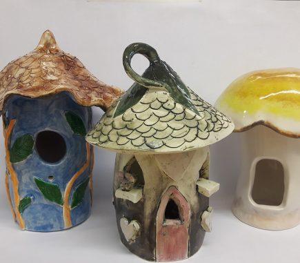 ceramic mushroom style bird houses, painted and glazed