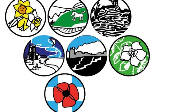 village tales icons of daffodils, white horse, rose, church, poppy and pond
