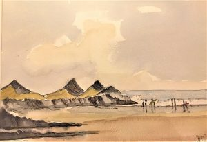 painting of beach with 3 hills in background and surfers approaching the sea