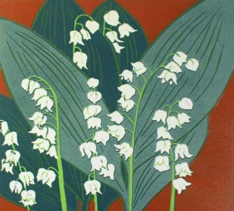 bold shapes of lily of valley painted against red background