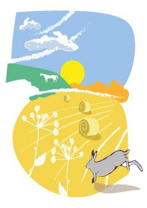 graphic image of hare jumping in field with hay bales and white chalk horse on hillside