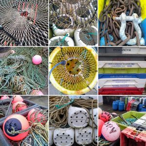montage of close up photos of fishing net, rope, buoys, fish crates and chain
