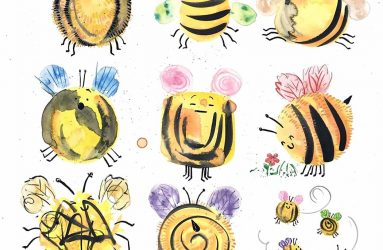 quirky watercolour painted bee designs