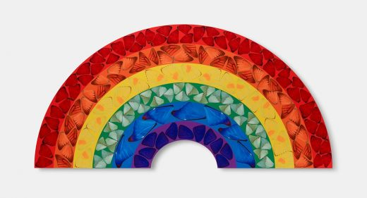 print of rainbow filled with butterfly shapes