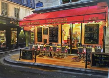 painting of french bistro with empty chairs and tables outside, red awning, on street corner