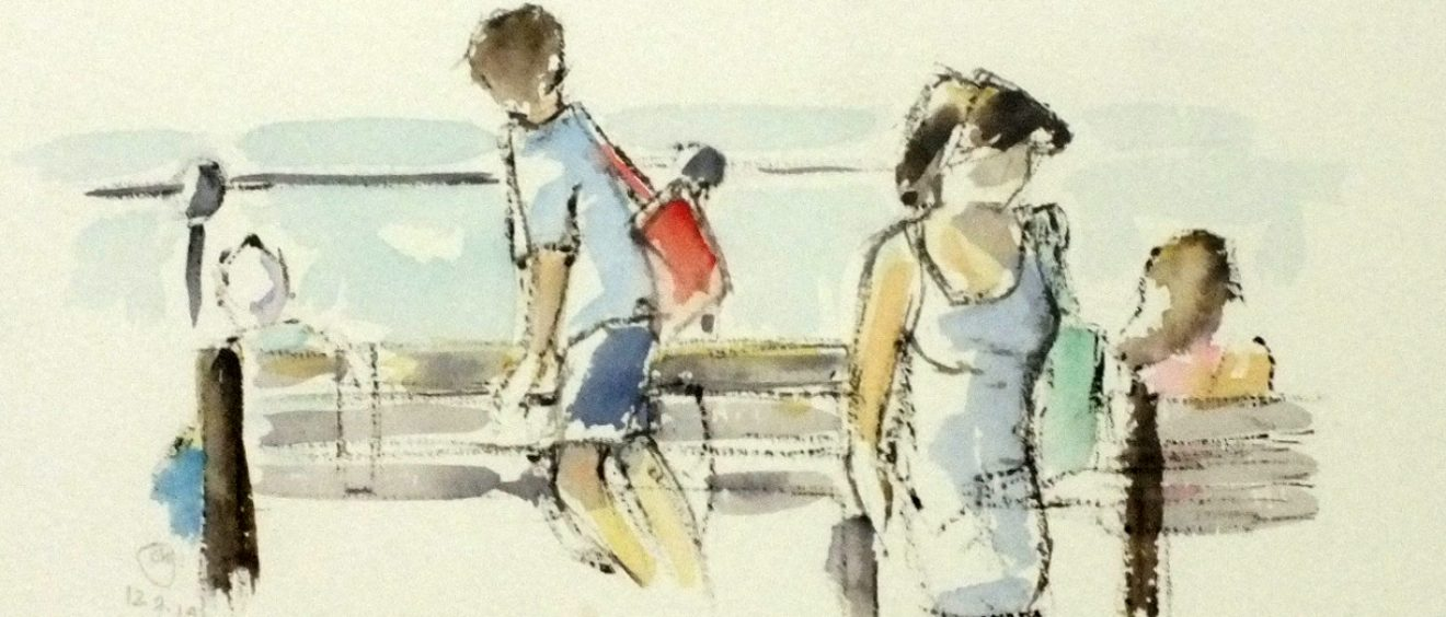 watercolour of people on seafront with seagulls