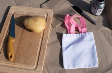 chopping board, knife, potato, bag, pen, paint, paper to protect table