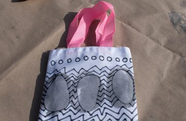 printed bag with silver egg shapes and black zig zag pattern in Sharpie pen