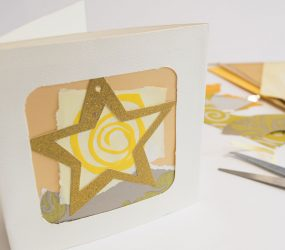 cut out gold star abstract collage