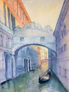 watercolour painting of bridge over canal in Venice with a gondolier