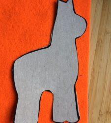 llama template laid on felt