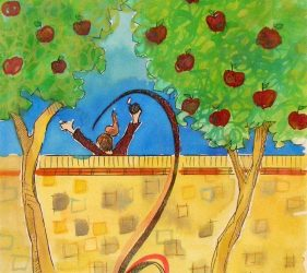 watercolour painting of girl jumping over wall picking apples from trees
