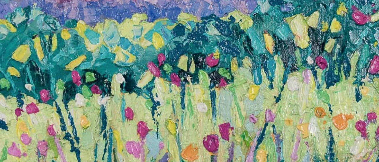 bold, brightly coloured, abstract acrylic painting, view towards cathedral spire through field of flowers