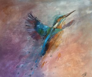 oil painting of kingfisher in flight