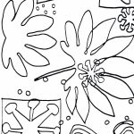 outline drawing of leaf and abstract shapes