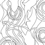 outline drawing of fish and water swirls