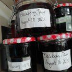 home made blackberry jam in labelled jars