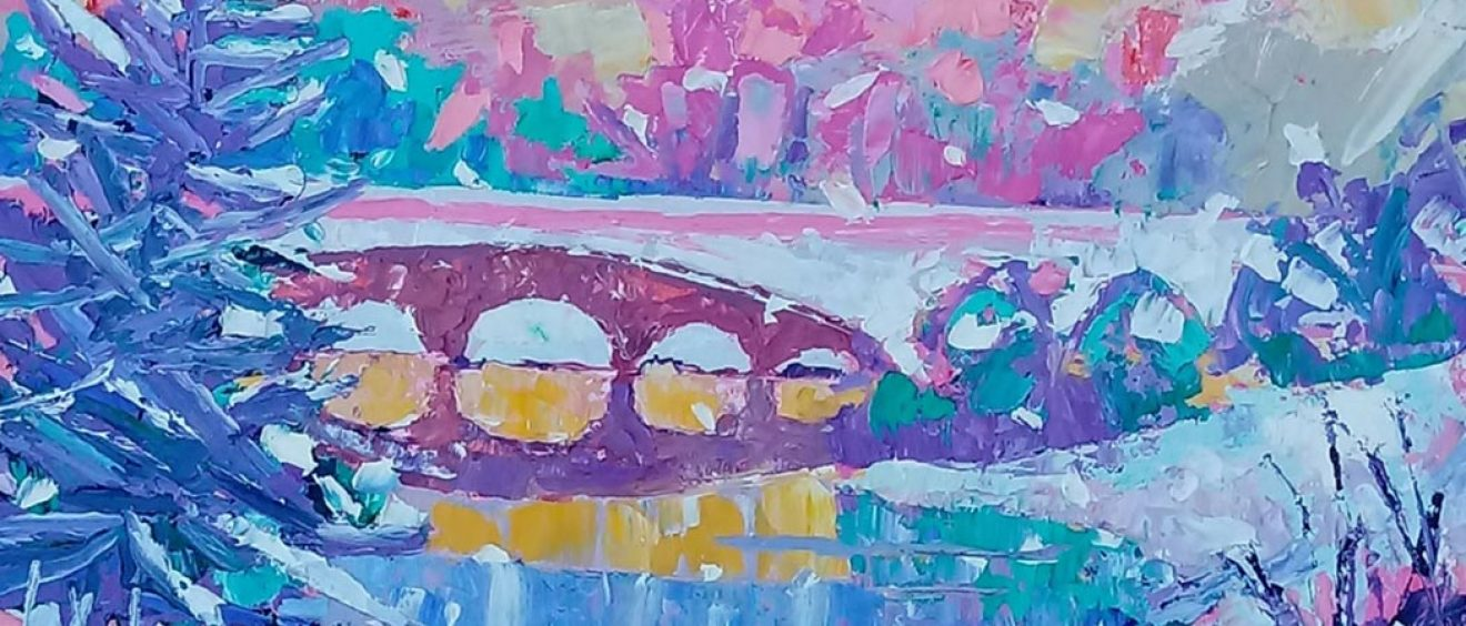 Bridge over lake at Stourhead, pinks and blue toned acrylics, large strokes
