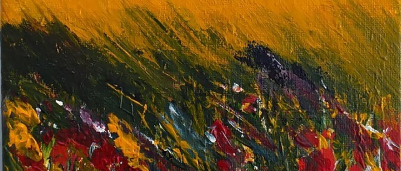 abstract acrylic painting of yellow field, red and purple hinted at flowers foreground, green trees on horizon