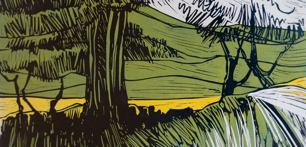 Lino cut trees in field, green and white with yellow accented field
