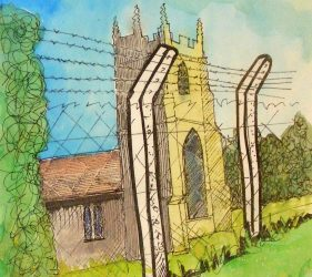 Watercolour of church viewed through high barbed fence