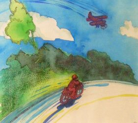 watercolour painting with biplane in sky, and motorbike racing below on road