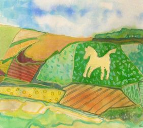watercolour painting of white horse carved on hillside