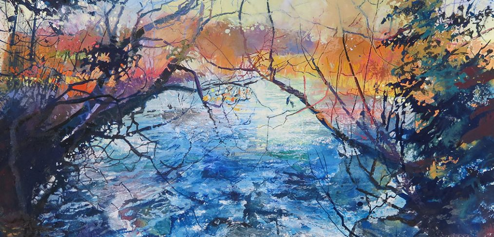 watercolour of bubbling river viewed between two branches