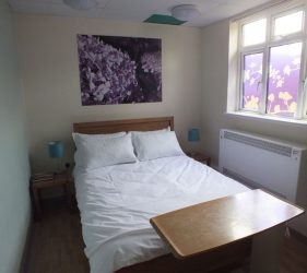 wooden double bed, bedside table lamps, artwork and coloured ceiling tiles, bespoke flower design window film
