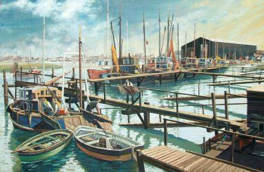 Fishermen unloading catch on wooden jetty