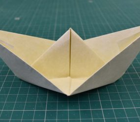 the finished origami boat