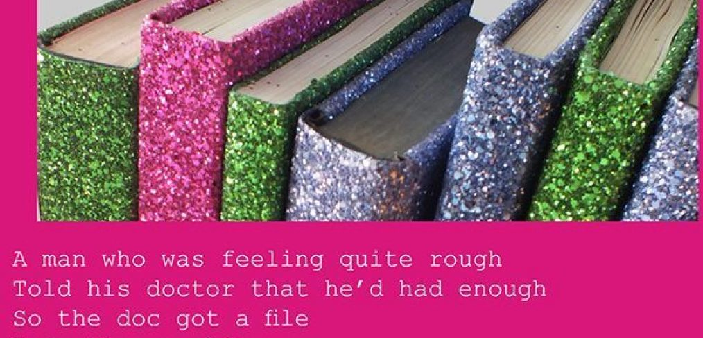 Glitter covered books and poem extracts
