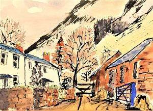 watercolour of cottages with stone walls along a lane, orange leaf trees behind and hillside in background